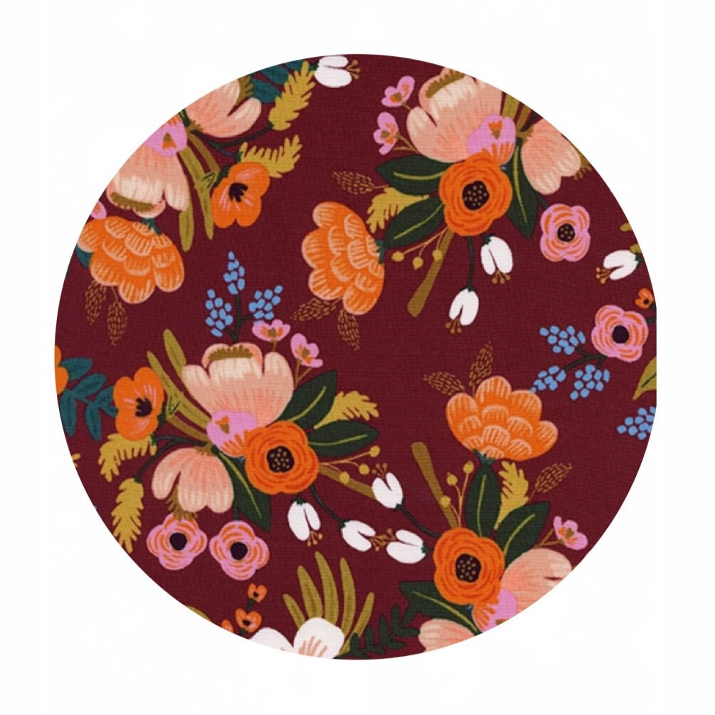 Lively Floral Burgundy in Rayon - Amalfi by Rifle Paper Co. - Cotton + Steel Fabrics