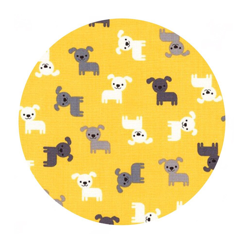 Mini Puppies in Yellow - Urban Zoologie Minis Collection- Robert Kaufman Fabrics