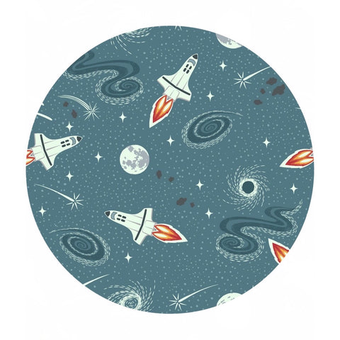 Teal Blue Rockets -  Light Years Collection - Lewis & Irene Fabrics