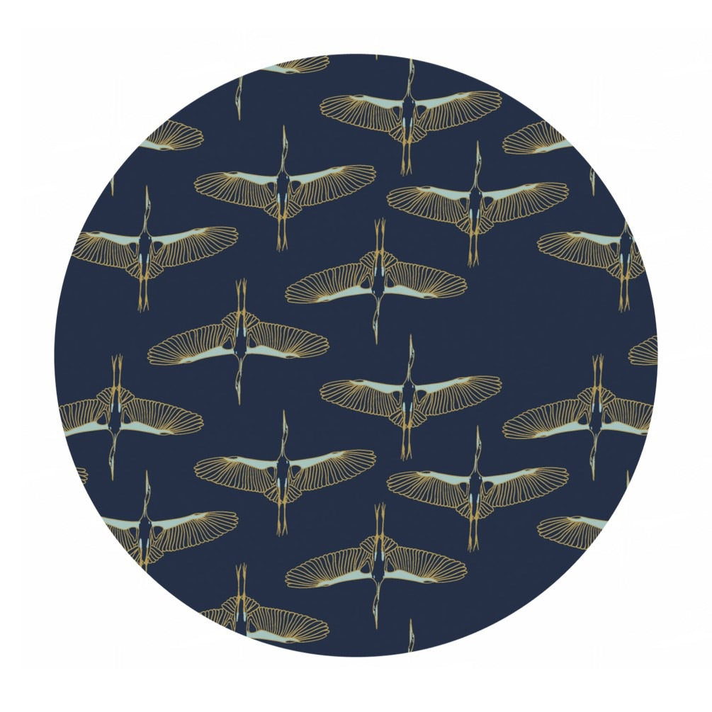 Flying Cranes in Navy Gold Metallic - Mystic Cranes Collection - Camelot Fabrics
