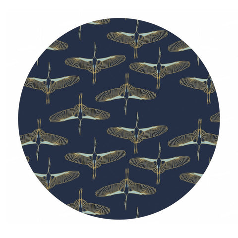 3 meters left! - Flying Cranes in Navy Gold Metallic - Mystic Cranes Collection - Camelot Fabrics