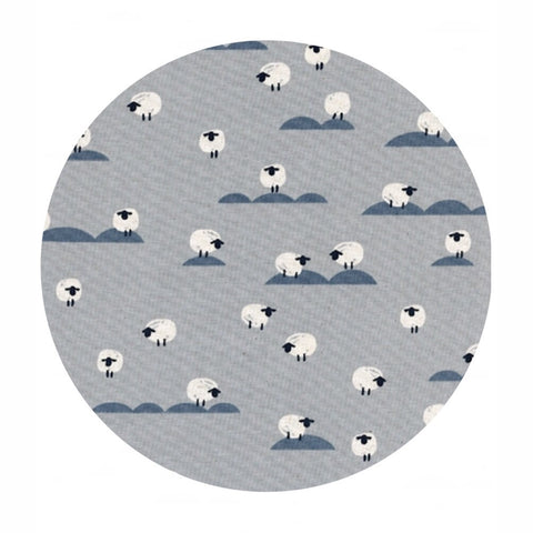 Sheep in Newspaper - Panorama Cloud Collection - Cotton + Steel Fabrics