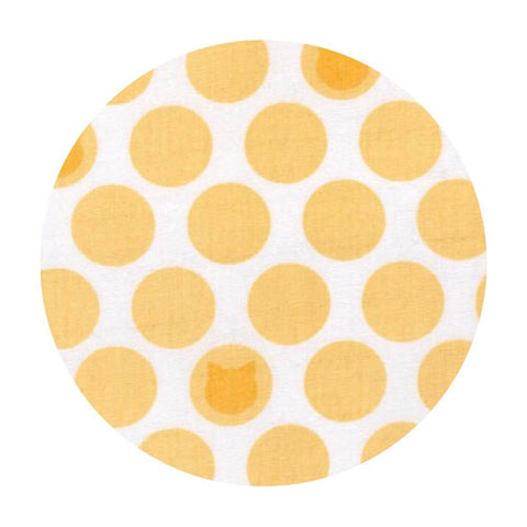 .5 meters left! - Little Cat Dot Double Gauze in Yellow - Little Prints Double Gauze - Robert Kaufman Fabrics