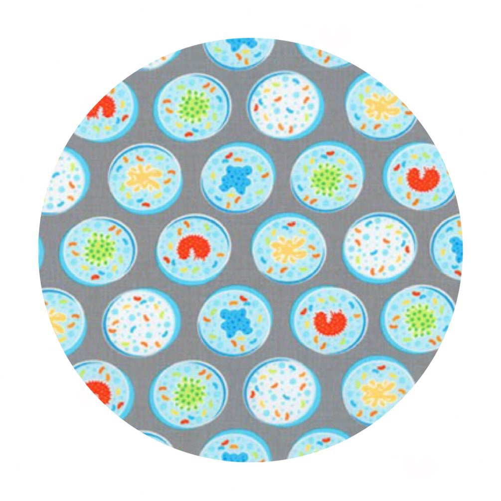 1 meter left! - Petri Dishes in Gray - Science Fair Collection- Robert Kaufman Fabrics