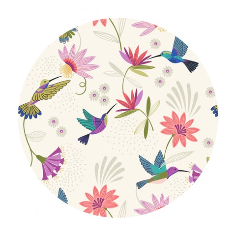 4 meters left! - Hummingbirds on Cream - Hummingbird Collection - Lewis & Irene Fabrics