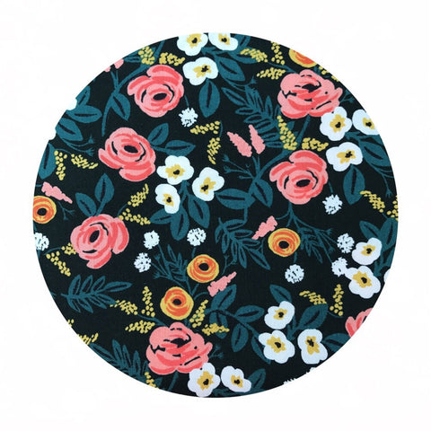 1 meter left! - Paint Roses Black in Rayon - Wonderland by Rifle Paper Co. - Cotton + Steel Fabrics