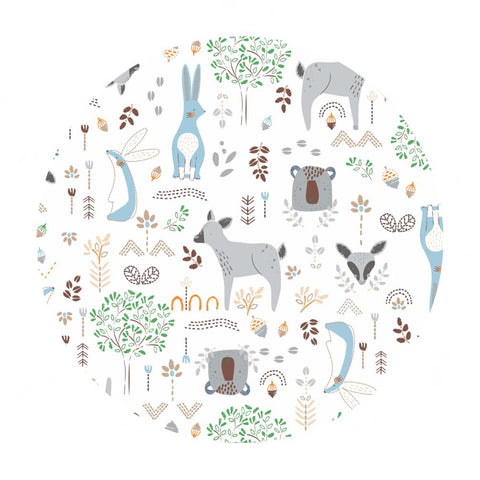 Forest Friends in Stone in Bamboo Flannel - Nursery Program Collection - Camelot Fabrics