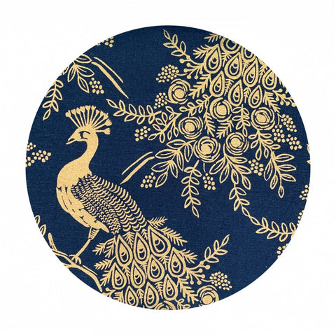 Royal Peacock in Navy Canvas Metallic - Menagerie by Rifle Paper Co. - Cotton + Steel Fabrics