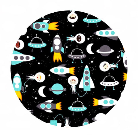 3 meters left! - Space Explorers Space Collage in Mint on Black - Space Explorers Collection - Robert Kaufman Fabrics