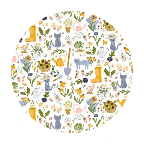 Gardening Cats in White - Meant to Bee Collection - Dear Stella Fabrics