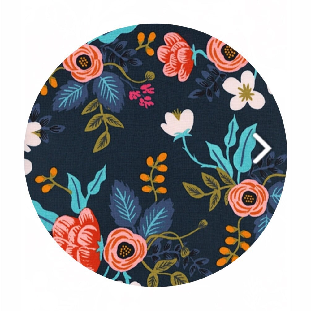 Birch Floral Navy in Rayon - Les Fleurs by Rifle Paper Co. - Cotton + Steel Fabrics