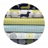 1 meter left! - Houndstooth in Green - Dog Gone It Collection - Camelot Fabrics