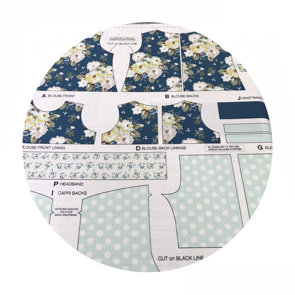 1 panel - Wiltshire Daisy Blue Doll Outfit Panel - Wiltshire Daisy Collection - Riley Blake Designs