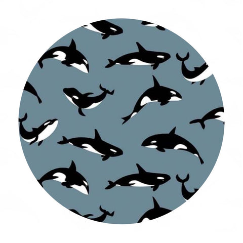 Orcas in Gray - Northwest Collection - Riley Blake Designs