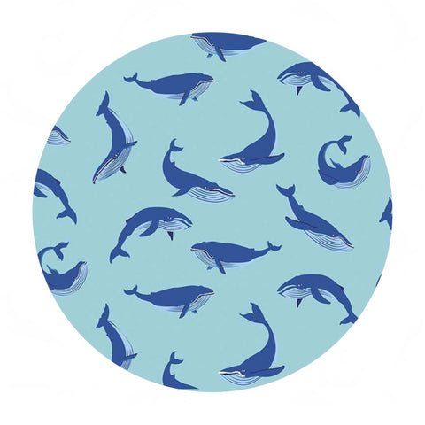 Whales in Aqua - Northwest Collection - Riley Blake Designs