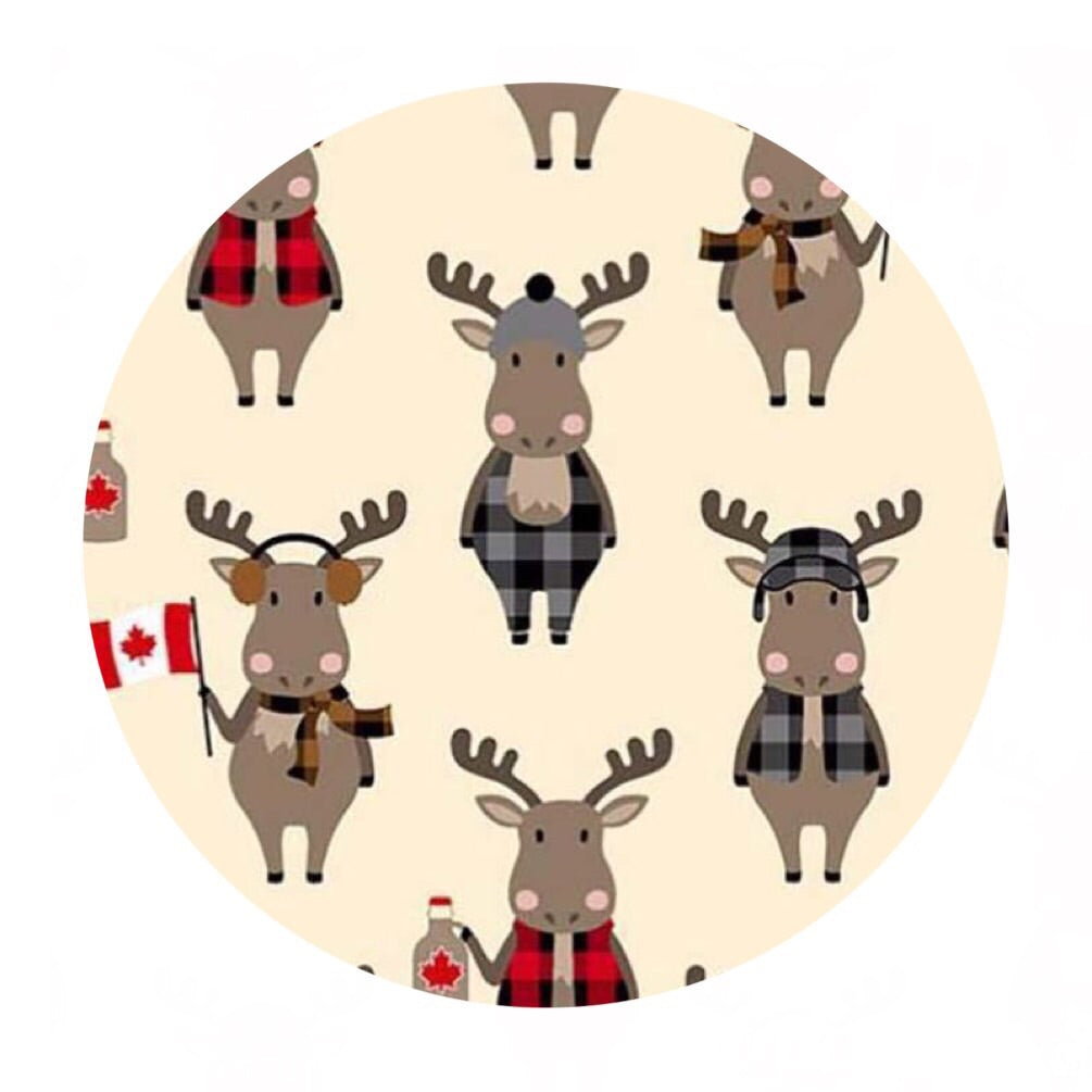 1 meter left! - Moose in Natural in Cotton - Purely Canadian Eh! Collection - Robert Kaufman Fabrics