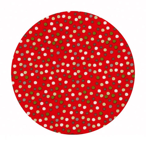 1.5 meters left! - Merry Dot Red - A Merry Little Christmas Collection - Riley Blake Designs