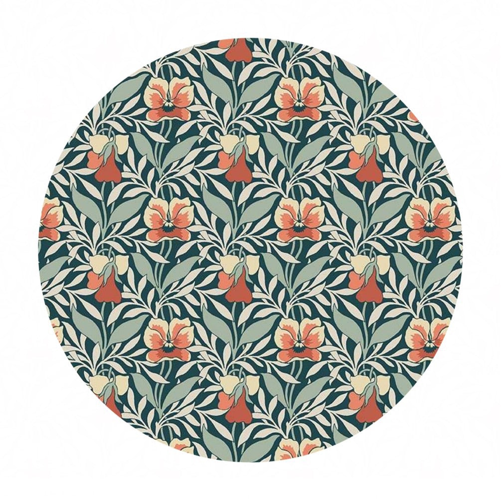 Harriet's Pansy in Green/Red - The Hesketh House Collection - Liberty Fabrics