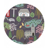 Village Scene in Dark Earth - The Village Pond Collection - Lewis & Irene Fabrics