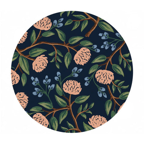 Peonies in Dark Blue Canvas - Wildwood by Rifle Paper Co. - Cotton + Steel Fabrics