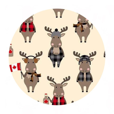 .5 meters left! - Moose in Natural in Flannel - Purely Canadian Eh! Collection - Robert Kaufman Fabrics