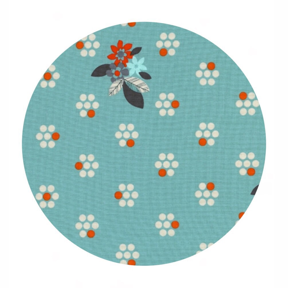 Fruit Blossoms in Blue - Fruit Dots Collection - Cotton + Steel Fabrics
