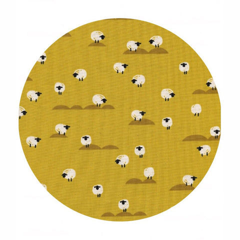 Pre-order! (Shipping in May) - Sheep in Mustard - Panorama Sunrise Collection - Cotton + Steel Fabrics