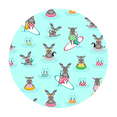 Paddle Boarding Moose in Cotton - Purely Canadian Eh! Summer BBQ Collection - Robert Kaufman Fabrics