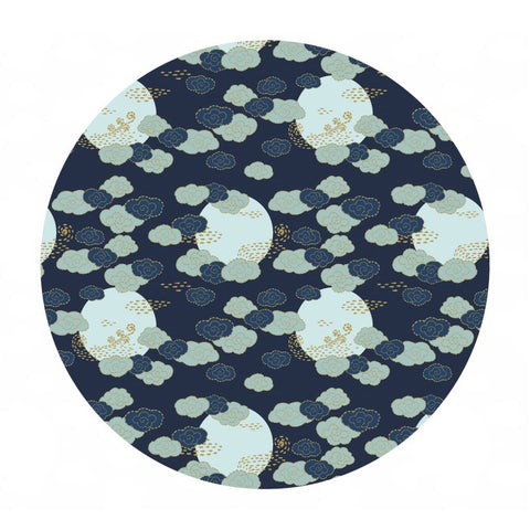 2 meters left! - Cloudy Skies in Navy Gold Metallic - Mystic Cranes Collection - Camelot Fabrics