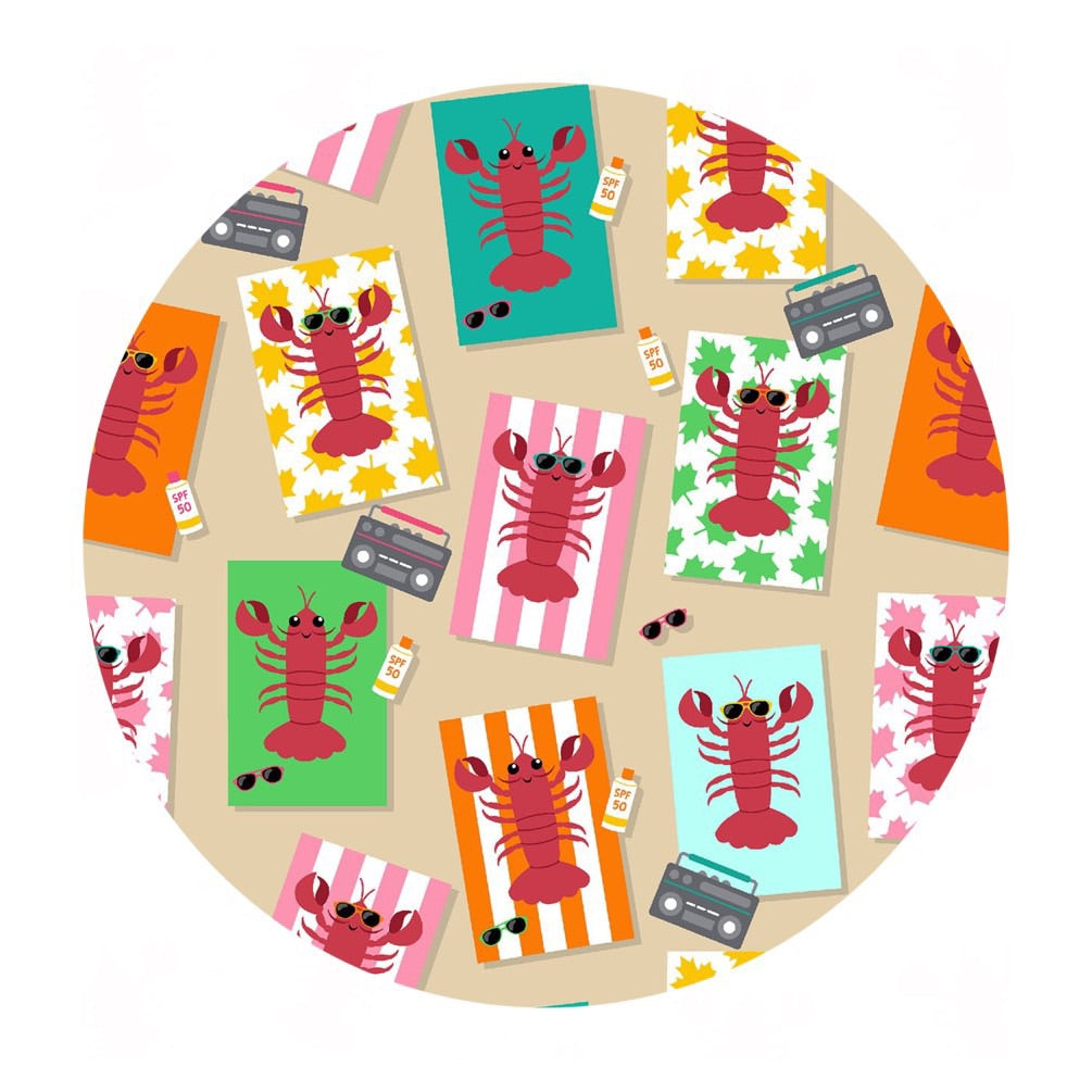 Atlantic Lobsters in Cotton - Purely Canadian Eh! Summer BBQ Collection - Robert Kaufman Fabrics