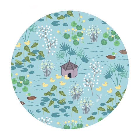1.5 meters left! - Duck Pond in Light Blue - The Village Pond Collection - Lewis & Irene Fabrics