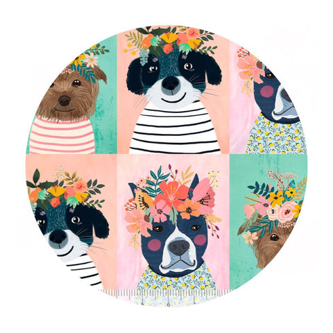 2 meters left! - Floral Puppy Multi - Floral Pets Collection - Blend Fabrics