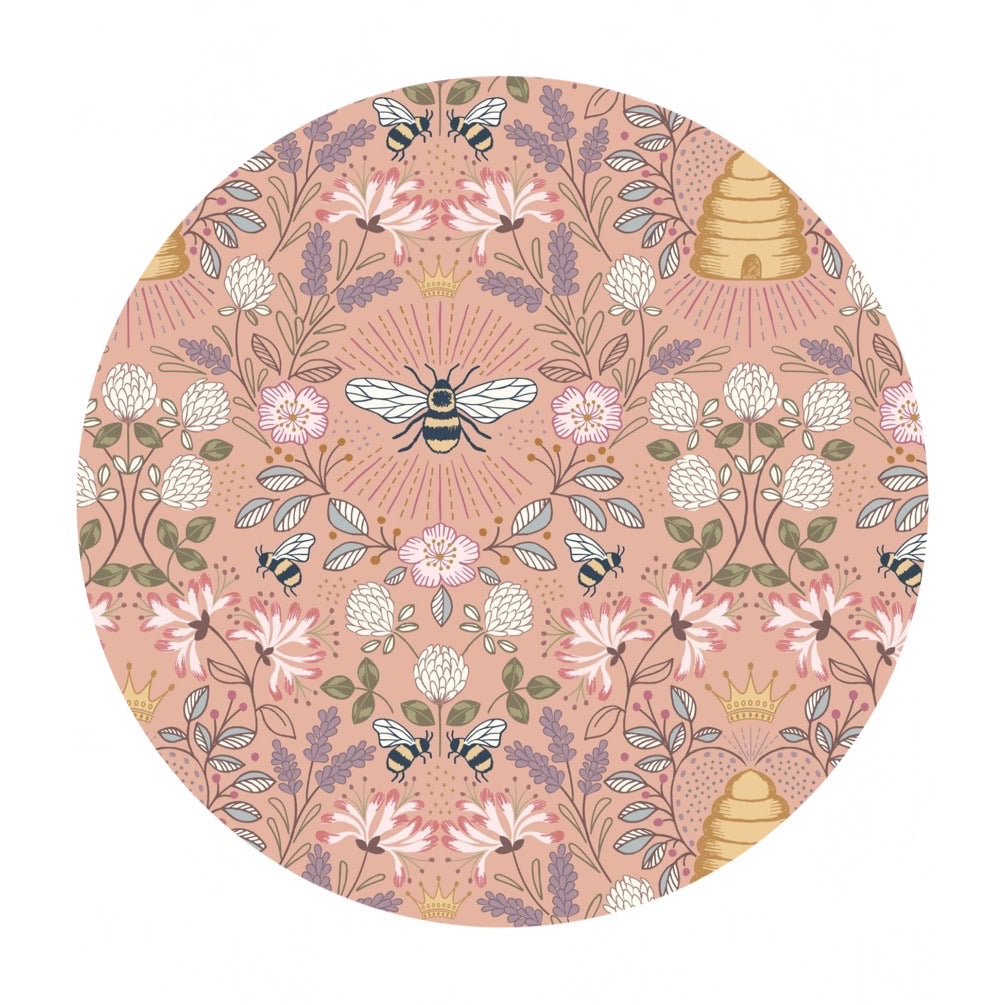 Bee Hives on Peach - Queen Bee Collection - Lewis & Irene Fabrics