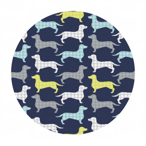 Dachshunds-tooth in Dark Blue - Dog Gone It Collection - Camelot Fabrics