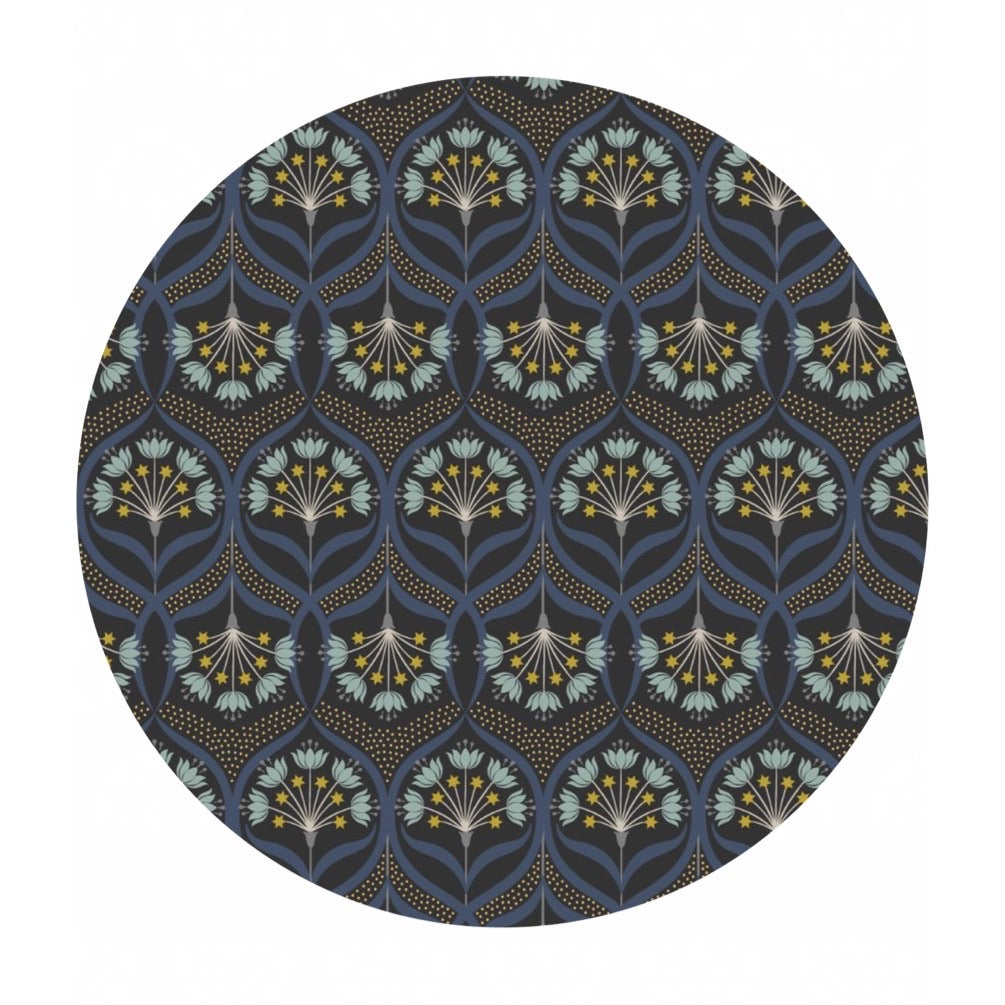 Star Floral on Black with Gold Metallic - Jardin de Lis Collection - Lewis & Irene Fabrics