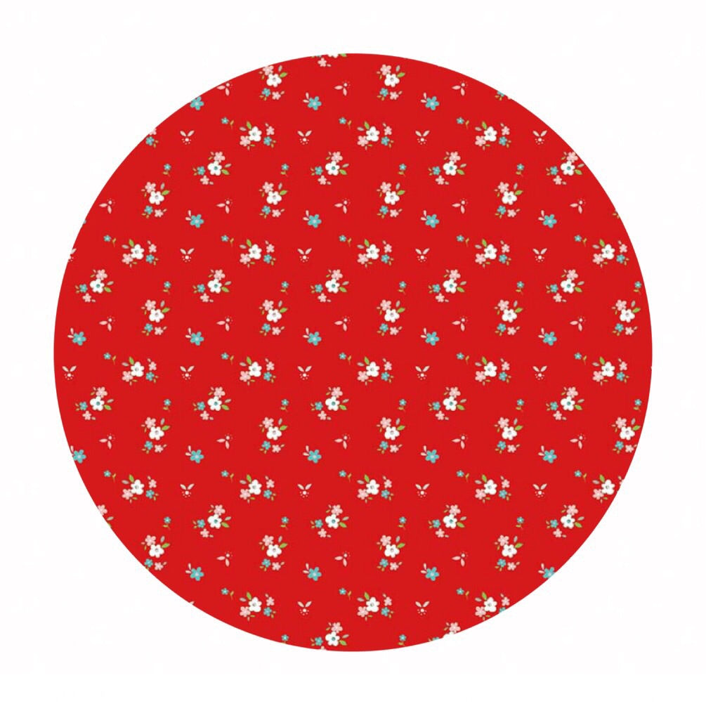3 meters left! - Little Floral Red in Flannel - Little Red Riding Hood Collection - Riley Blake Designs