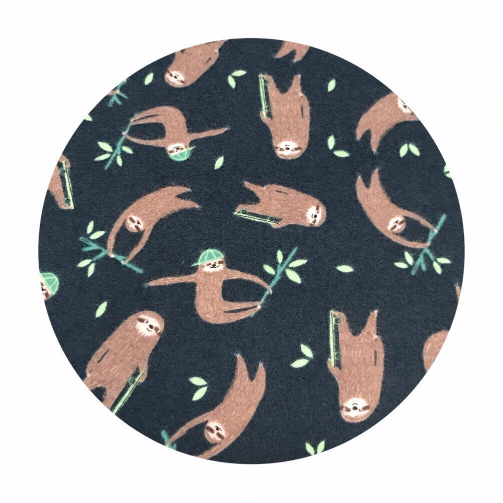Sloths Flannel in Midnight - Wild and Free Collection - Dear Stella Fabrics