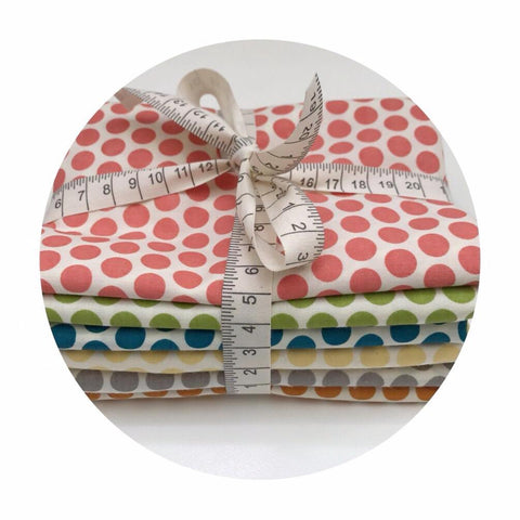 Organic 6 Fat Quarter Bundle - Dottie Organic Poplin - Mod Basics Collection - Birch Organic Fabrics