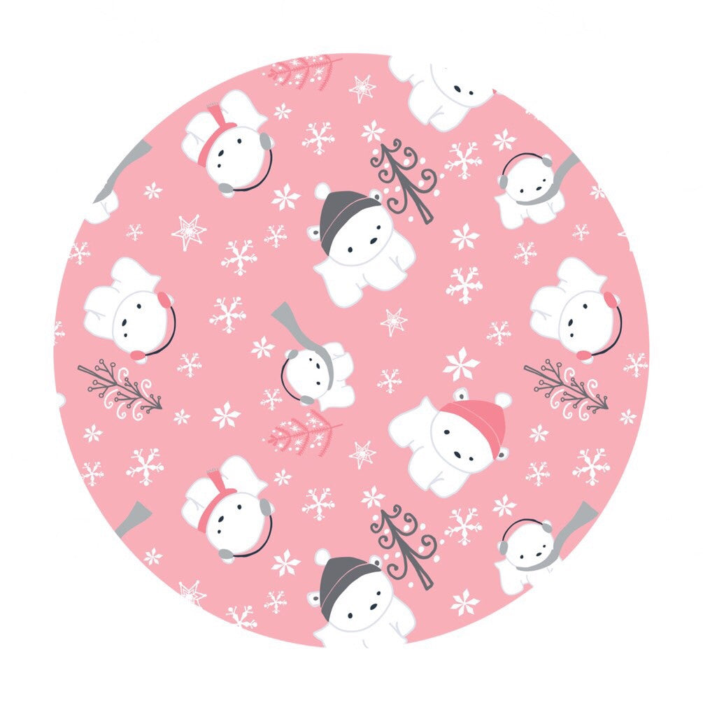 Polar Cubs Flannel in Pink - Camelot Fabrics