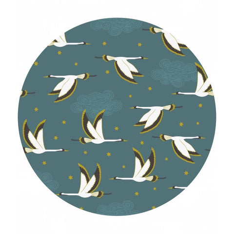 Flying Heron on Jade with Gold Metallic - Jardin de Lis Collection - Lewis & Irene Fabrics