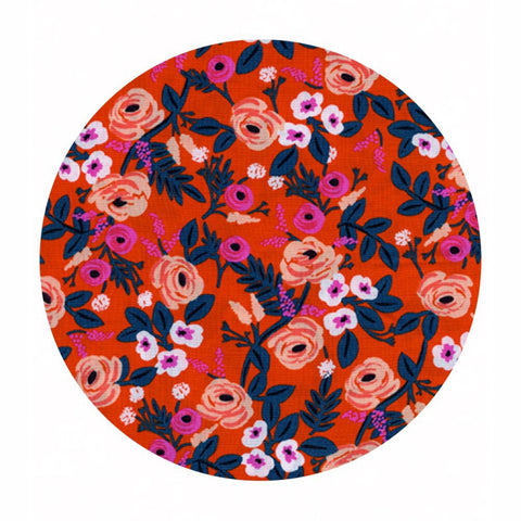 Paint Roses Orange in Rayon - Wonderland by Rifle Paper Co. - Cotton + Steel Fabrics