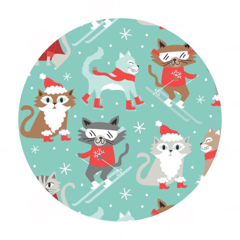Pre-order (shipping in Aug) - Kitty Patrol in Blue - Snowlandia Collection - Blend Fabrics