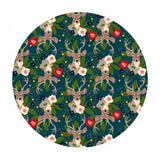 Pre-order (shipping in Aug) - Deer Santa in Blue -  A Winter's Tail Collection - Blend Fabrics