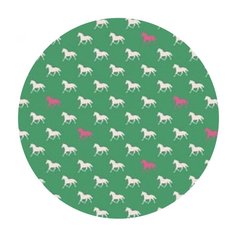 Derby Horses in Green Knit - Derby Day Collection - Riley Blake Designs