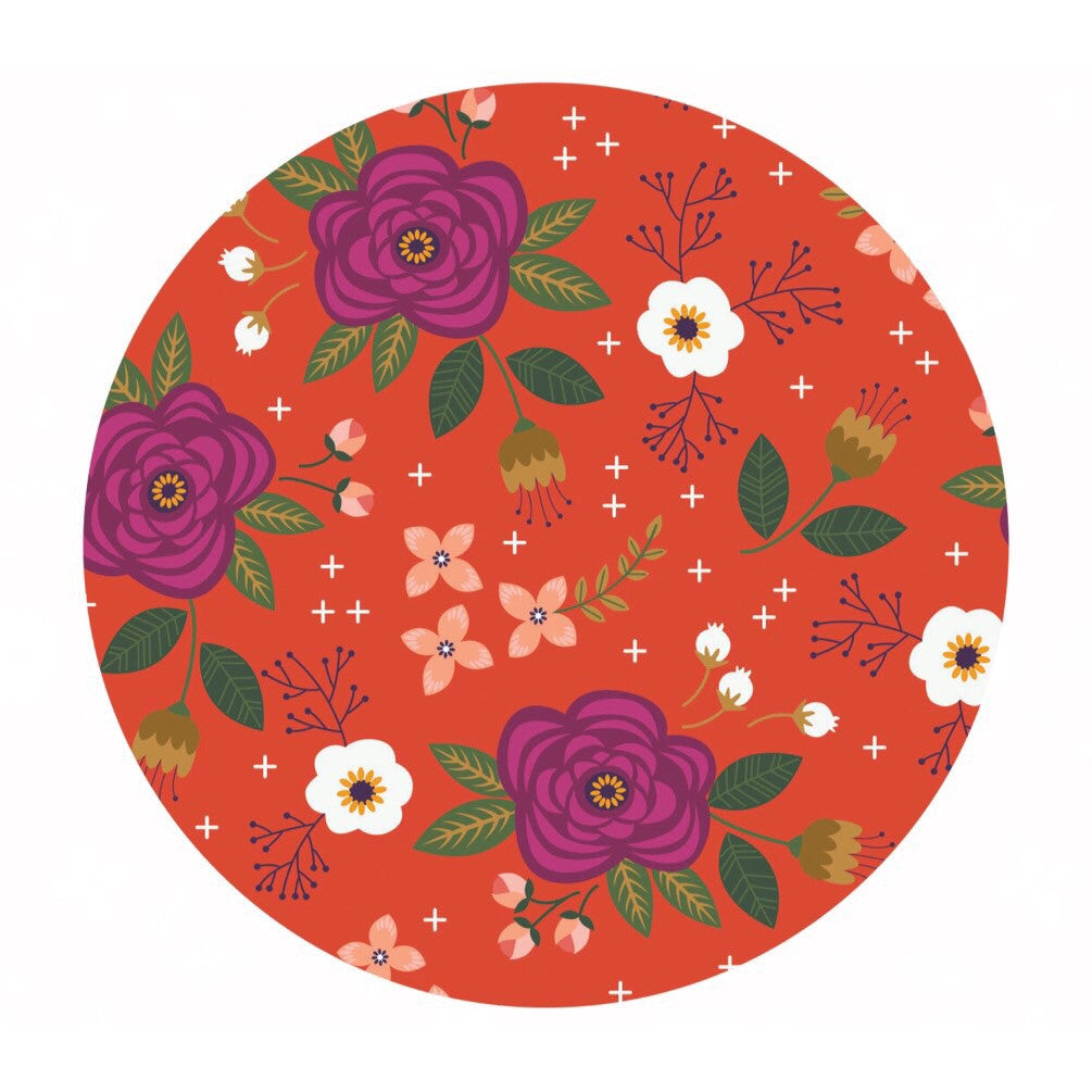 Floral in Red-Orange Double Gauze - Enchanted Collection - Camelot Fabrics
