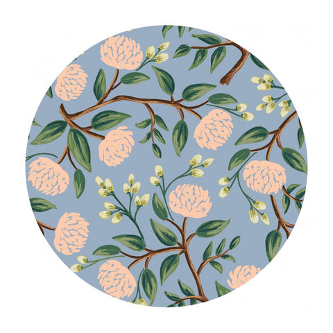 2.5 meters left! - Peonies in Dusty Blue Cotton - Wildwood by Rifle Paper Co. - Cotton + Steel Fabrics