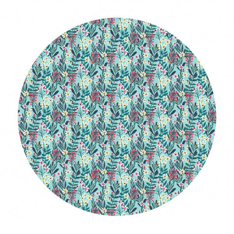 1.5 meters left! - Hanna in Aqua - Floral Pets Collection - Blend Fabrics