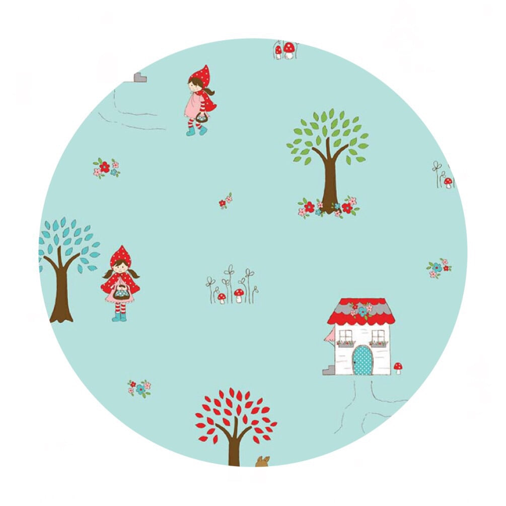 1 meter left! - Little Main Aqua in Flannel - Little Red Riding Hood Collection - Riley Blake Designs