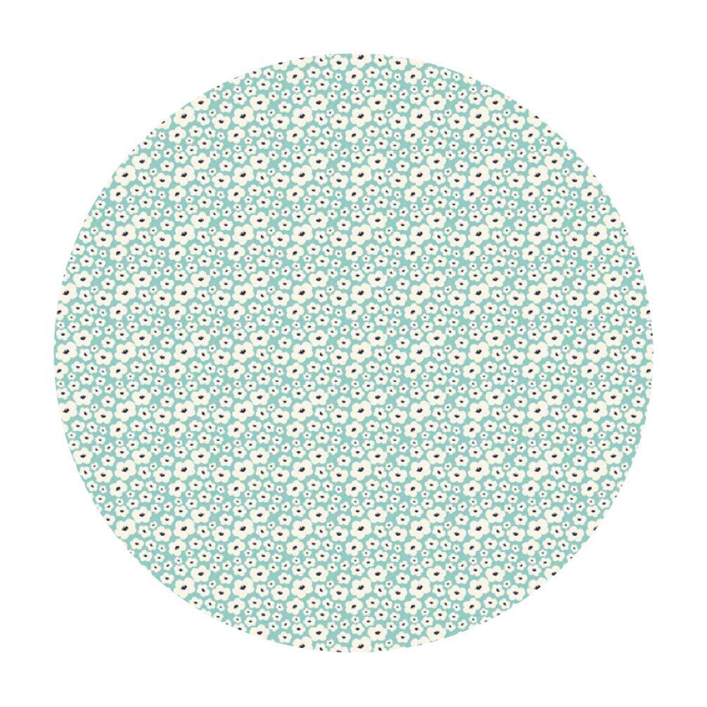 2.5 meters left! - Posy Small Floral Aqua - Posy Garden Collection - Riley Blake Designs