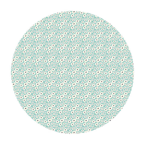 1 meter left! - Posy Small Floral Aqua - Posy Garden Collection - Riley Blake Designs